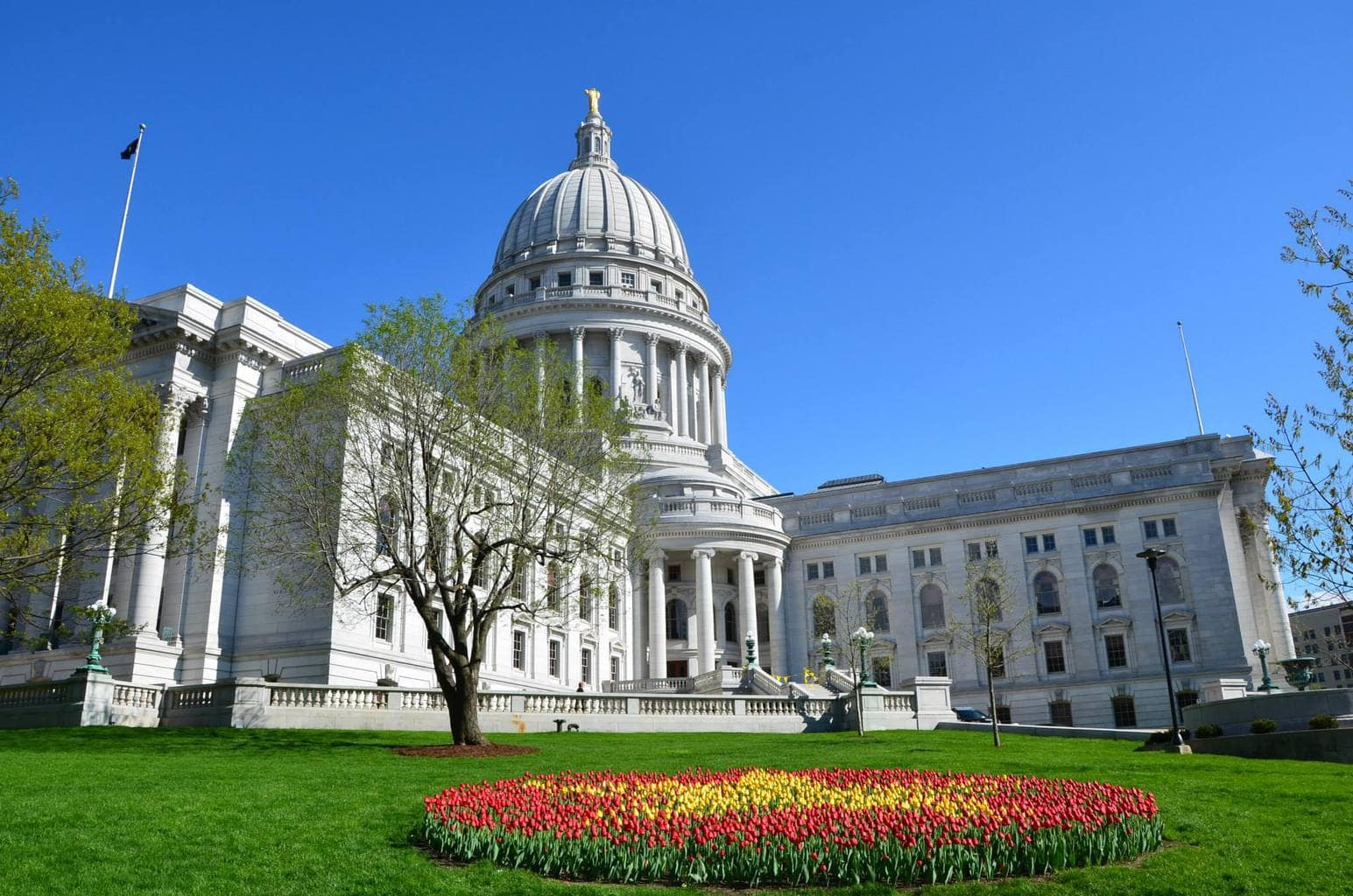 Wisconsin State Capitol Building during Tulip Festival